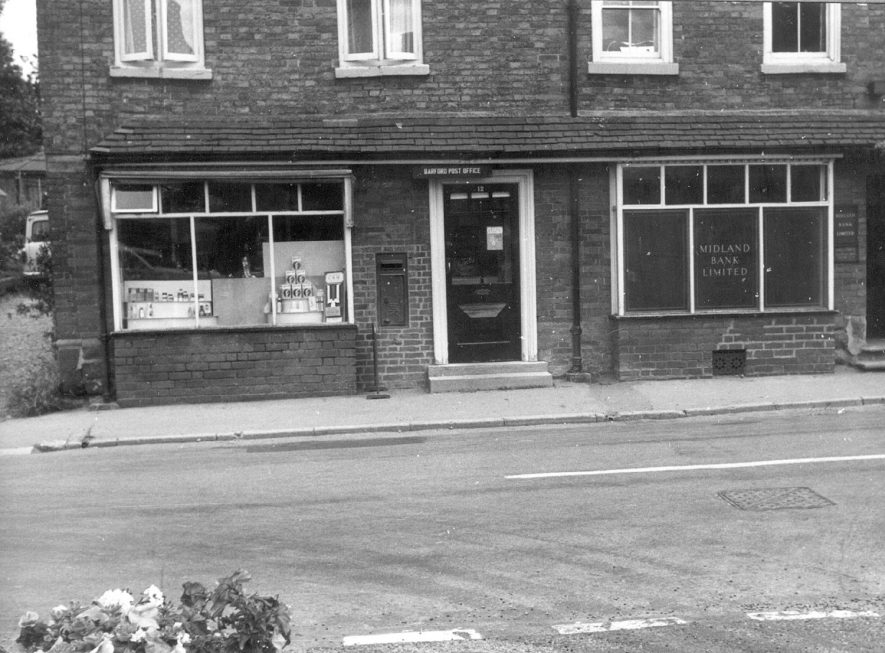 The post office and Midland bank, Bridge Street, Barford.  1967 |  IMAGE LOCATION: (Warwickshire County Record Office)