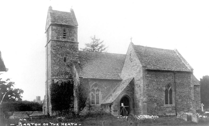 Exterior view of St Laurence's church, Barton on the Heath.  1910s |  IMAGE LOCATION: (Warwickshire County Record Office)