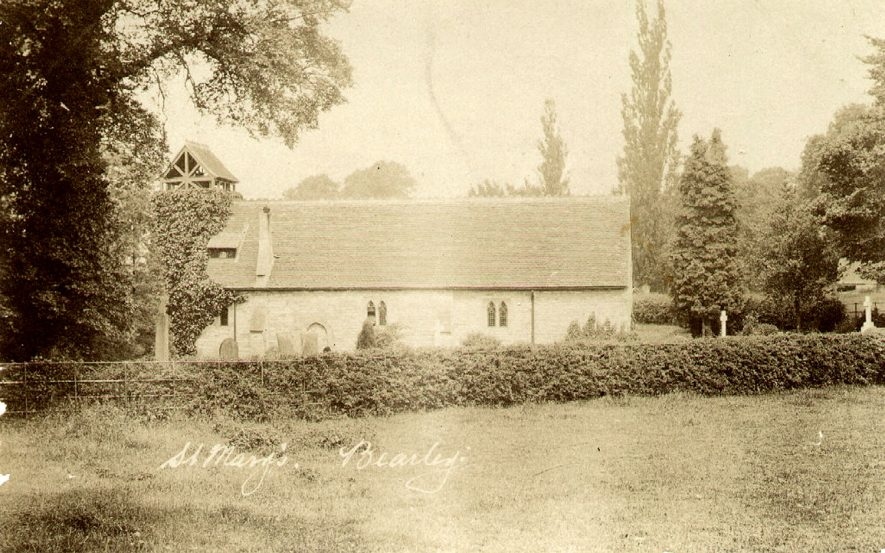 Exterior view of St Mary's Church, Bearley.  1900s |  IMAGE LOCATION: (Warwickshire County Record Office)
