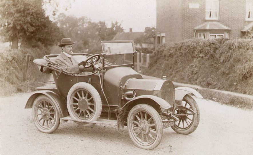 Buckley Green, Beaudesert.  Mr Parkes in motor car.  1910s |  IMAGE LOCATION: (Warwickshire County Record Office) PEOPLE IN PHOTO: Parkes, Mr, Parkes as a surname
