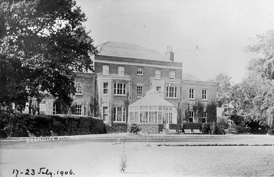 Brandon House, back elevation, showing terrace and part of garden.  July 1906