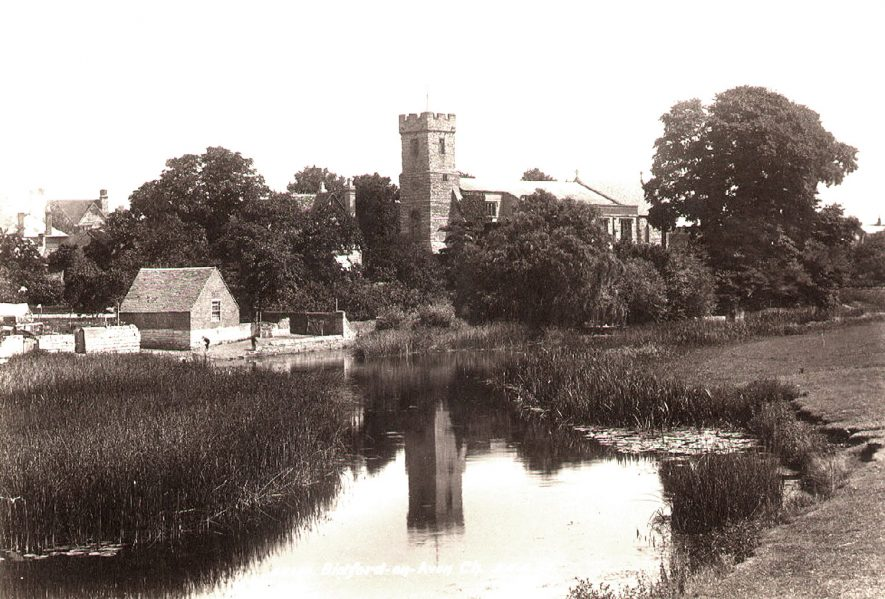 Church of St Lawrence with the River Avon in the fordground. Bidford on Avon.  1899 |  IMAGE LOCATION: (Warwickshire County Record Office)