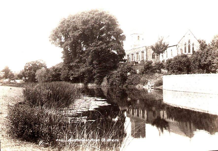 Church of St Lawrence with the River Avon in the foreground, Bidford on Avon.  1899 |  IMAGE LOCATION: (Warwickshire County Record Office)