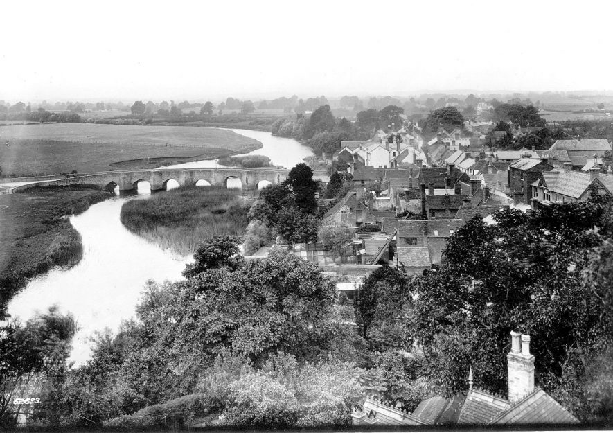View of river, town and bridge from the church tower, Bidford on Avon.  1910 |  IMAGE LOCATION: (Warwickshire County Record Office)