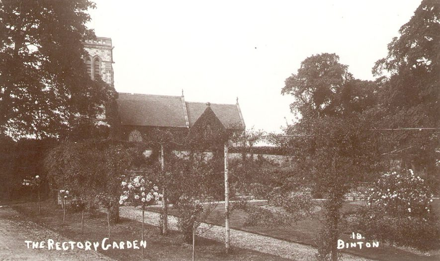 St Peter's church and the rectory garden, Binton.  1920s |  IMAGE LOCATION: (Warwickshire County Record Office)