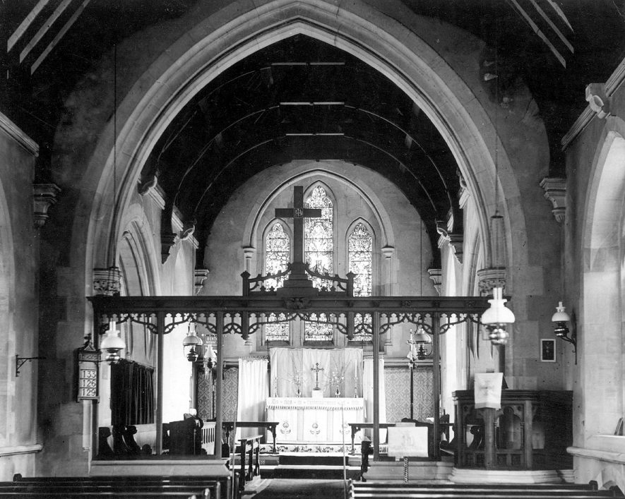 Interior of St Peter's church, Binton, showing the Lloyd Bruce memorial screen.  1920s |  IMAGE LOCATION: (Warwickshire County Record Office)