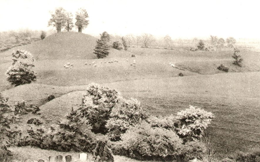 The ancient British tumulus and roman camp (motte & bailey), Brinklow.  1910s |  IMAGE LOCATION: (Warwickshire County Record Office)