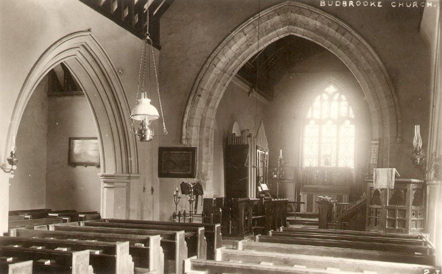 Interior of St Michael's church, Budbrooke.  1910s |  IMAGE LOCATION: (Warwickshire County Record Office)