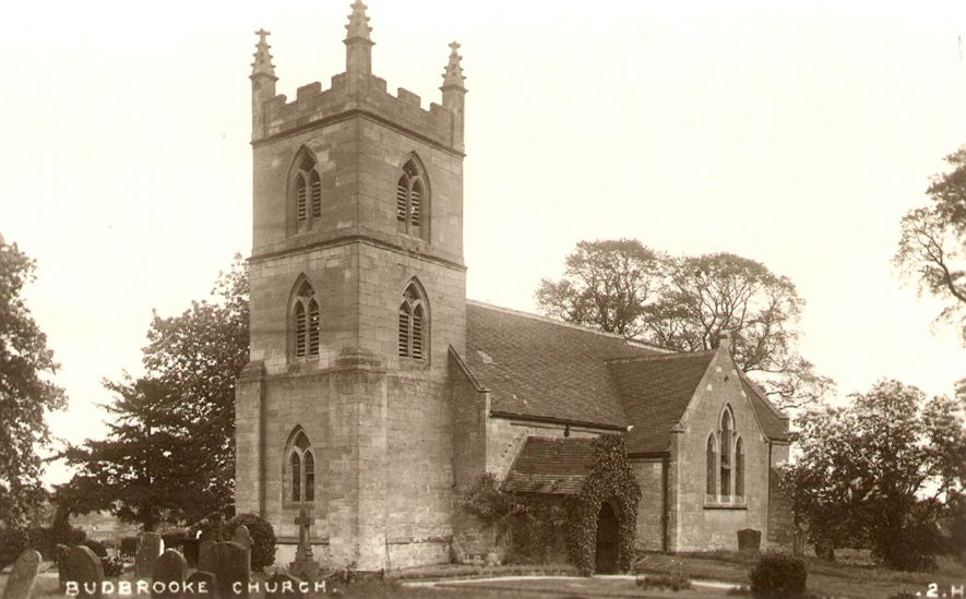 Exterior of St Michael's church, Budbrooke.  1910s |  IMAGE LOCATION: (Warwickshire County Record Office)