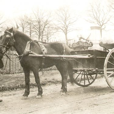 Budbrooke.  Mr Hicken with horse and milk cart