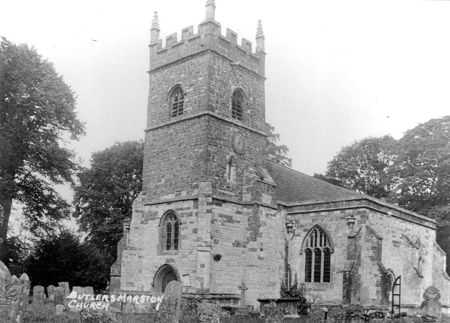 Exterior of St Mary's church and churchyard, Pillerton Hersey. The title on this photograph, stating Butlers Marston Church is incorrect.  1920s |  IMAGE LOCATION: (Warwickshire County Record Office)