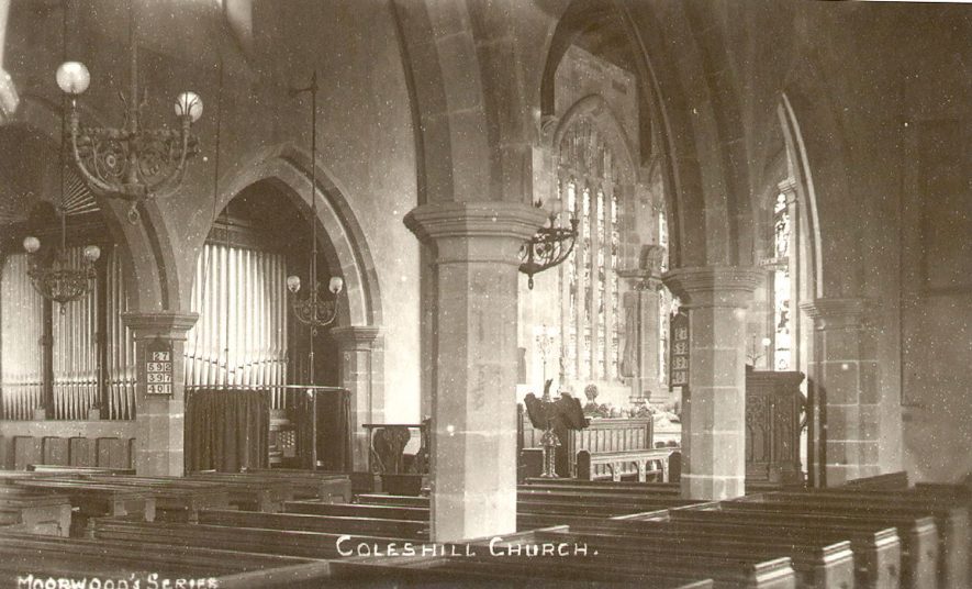 Interior of church of SS Peter & Paul, Coleshill.  1910s |  IMAGE LOCATION: (Warwickshire County Record Office)