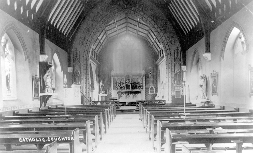 Interior of the Roman Catholic church of Saints Peter, Paul and Elizabeth, Coughton.  1900s |  IMAGE LOCATION: (Warwickshire County Record Office)