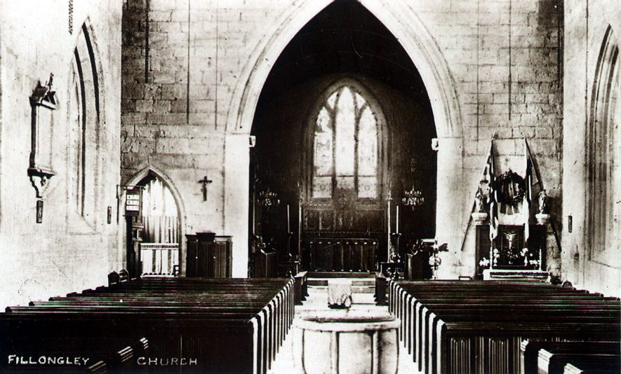 Interior of church of St Mary & All Saints, Fillongley.  1910 |  IMAGE LOCATION: (Warwickshire County Record Office)