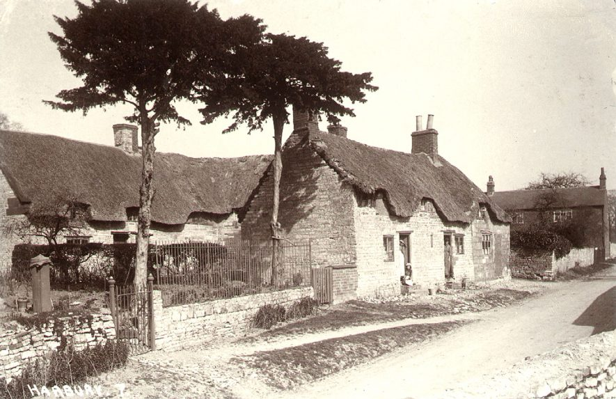 Thatched cottages, Harbury.  1920s    IMAGE LOCATION: (Warwickshire County Record Office)