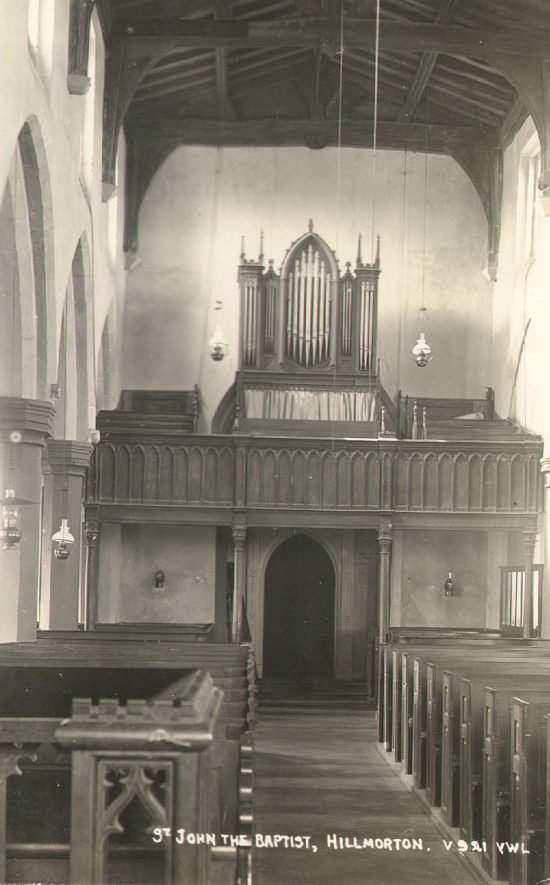 Interior of Hillmorton church looking west, showing the organ case and gallery.  1920s |  IMAGE LOCATION: (Warwickshire County Record Office)