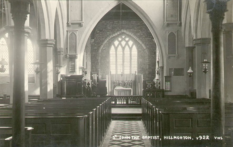 Interior of the church of St John the Baptist looking east, Hillmorton.  1920s |  IMAGE LOCATION: (Warwickshire County Record Office)