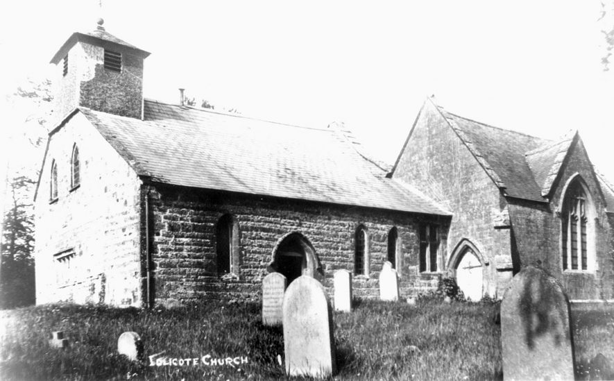 Exterior of the church of St James the Great, Idlicote.  1920s |  IMAGE LOCATION: (Warwickshire County Record Office)