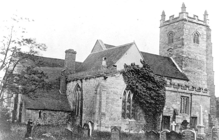 Exterior the church of SS Peter & Paul, Kingsbury.  1900s |  IMAGE LOCATION: (Warwickshire County Record Office)
