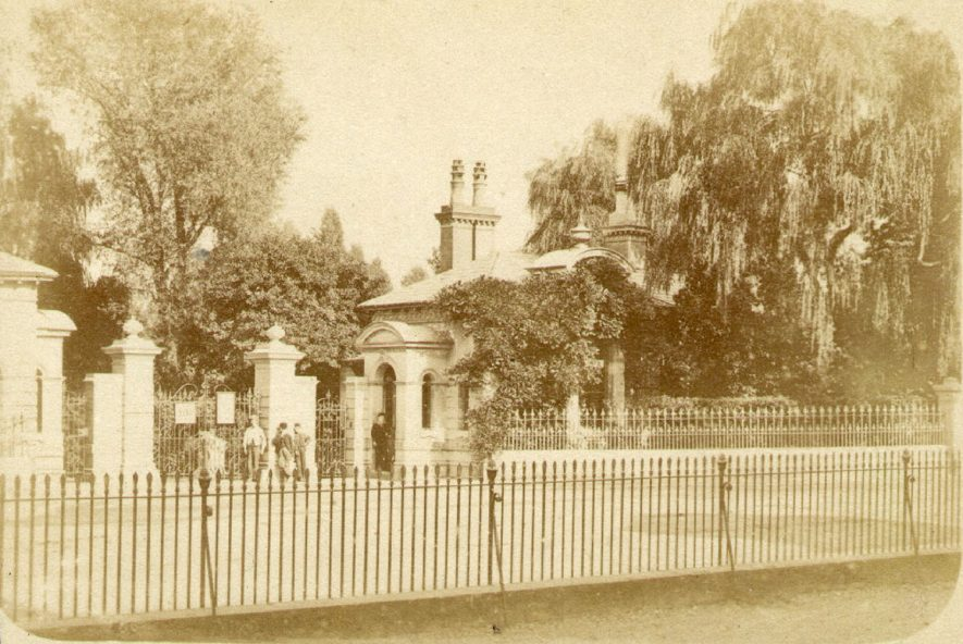 Entrance to Jephson Gardens, Leamington Spa.  1870 |  IMAGE LOCATION: (Warwickshire County Record Office)