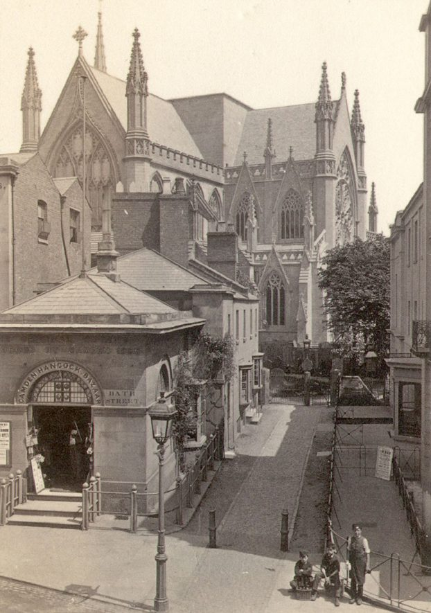 All Saints Church, Leamington Spa, from Bath Street.  1860s |  IMAGE LOCATION: (Warwickshire County Record Office)