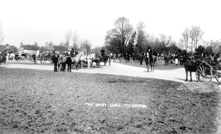 Hunt meet at the edge of Long Itchington.  Horses, riders and on-lookers.  1905 |  IMAGE LOCATION: (Warwickshire County Record Office)