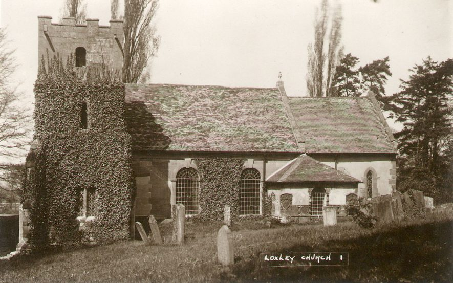 Loxley Parish Church exterior.  1920 |  IMAGE LOCATION: (Warwickshire County Record Office) SCAN DATE: (10/00)