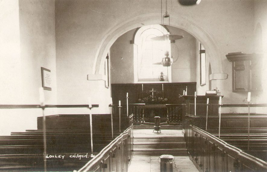 Loxley Parish Church interior.  1920 |  IMAGE LOCATION: (Warwickshire County Record Office)