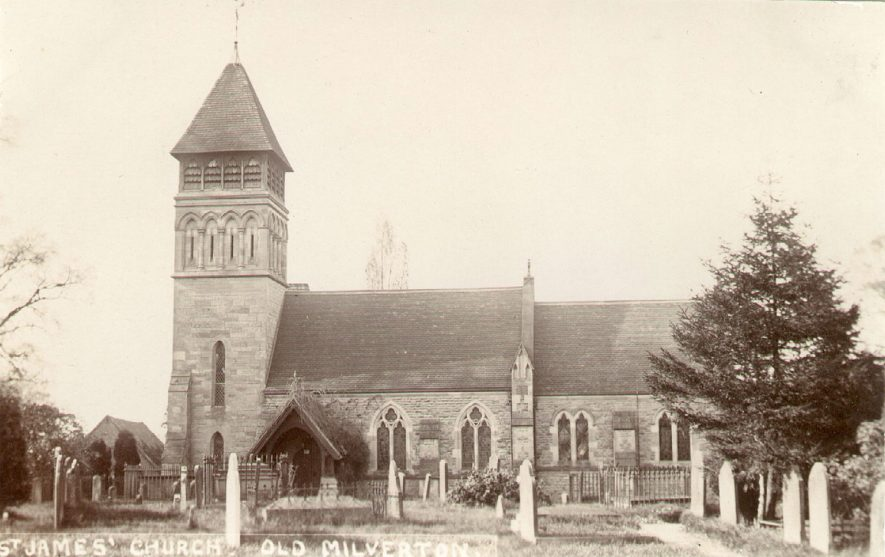Exterior of  St James church, Old Milverton.  1900s |  IMAGE LOCATION: (Warwickshire County Record Office)