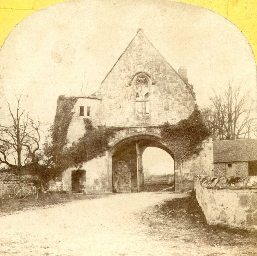 The gatehouse at Maxstoke Priory.  Circa 1870 |  IMAGE LOCATION: (Warwickshire County Record Office)