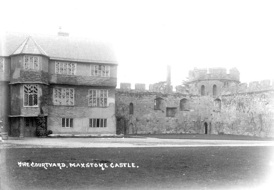 The courtyard at Maxstoke Castle.  1910s |  IMAGE LOCATION: (Warwickshire County Record Office)