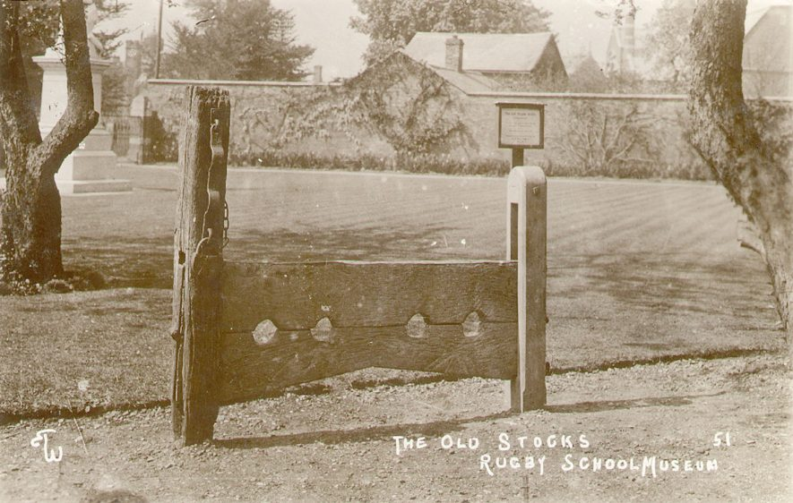The old stocks at Rugby School Museum, Rugby.  1920s |  IMAGE LOCATION: (Warwickshire County Record Office)