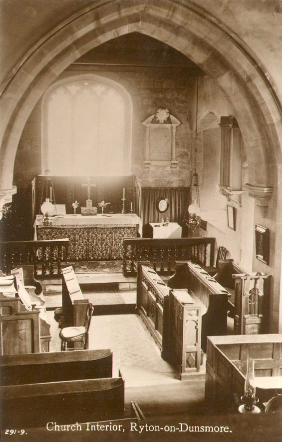 St Leonard's church, Ryton on Dunsmore, view of chancel.  1920s |  IMAGE LOCATION: (Warwickshire County Record Office)