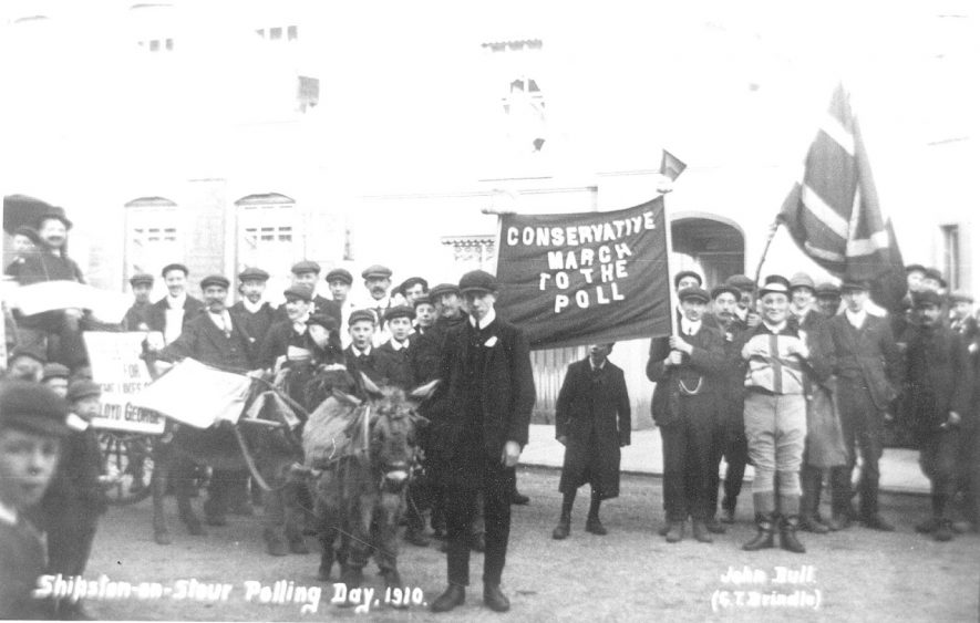 Conservative propaganda from polling day 1910, Shipston on Stour. |  IMAGE LOCATION: (Warwickshire County Record Office)