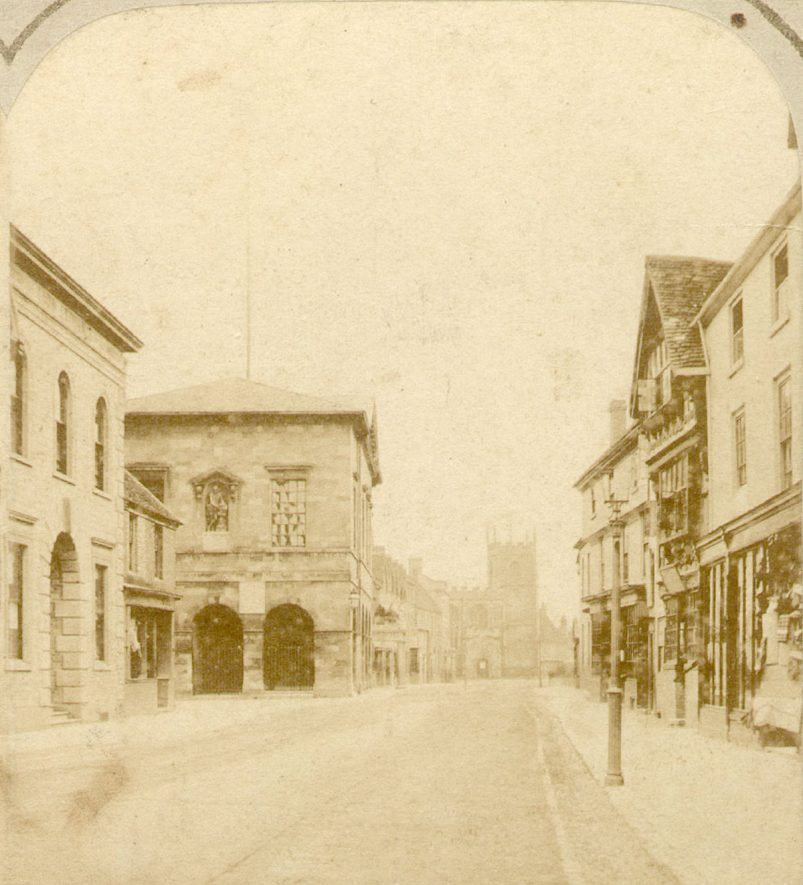 Stratford upon Avon High Street looking towards Chapel Street.  1860 |  IMAGE LOCATION: (Warwickshire County Record Office)