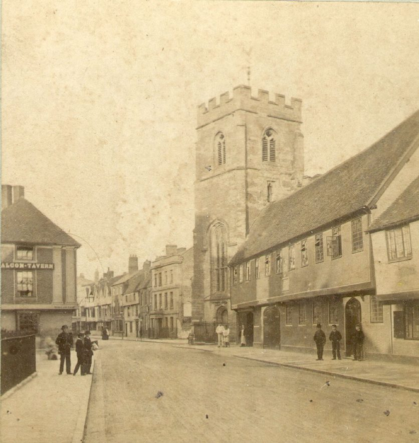 Church Street, Stratford upon Avon, looking towards Chapel Street.  Guild Chapel and Grammar School.  1880s |  IMAGE LOCATION: (Warwickshire County Record Office)