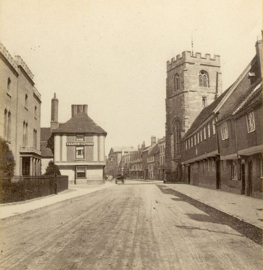 Church Street, Stratford upon Avon, looking towards Chapel Street.  Guild Chapel,  Grammar School and Falcon tavern.  1860s |  IMAGE LOCATION: (Warwickshire County Record Office)