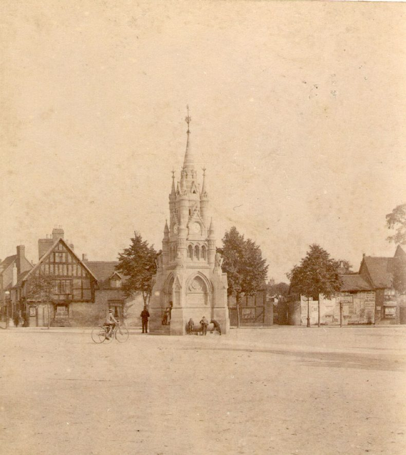American Fountain, Rother Street, Stratford upon Avon.  1860s |  IMAGE LOCATION: (Warwickshire County Record Office)