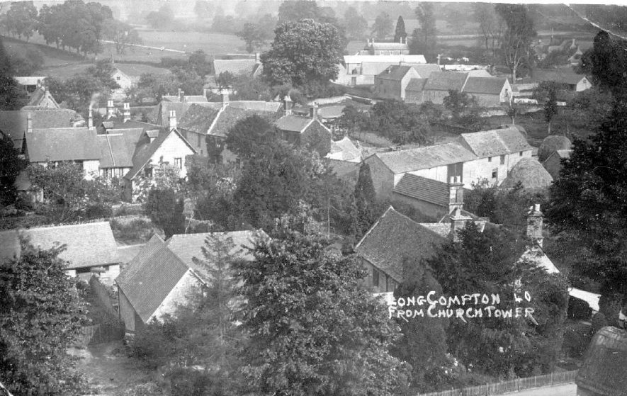 View of Long Compton village taken from church tower.  1920s |  IMAGE LOCATION: (Warwickshire County Record Office)