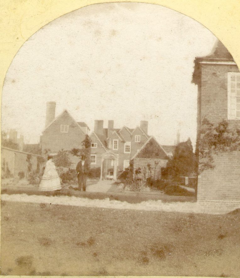 Rear of Mason's Croft from the garden, Stratford upon Avon.  New Shakespeare Institute, formerly Marie Corelli's house.  1860s |  IMAGE LOCATION: (Warwickshire County Record Office)