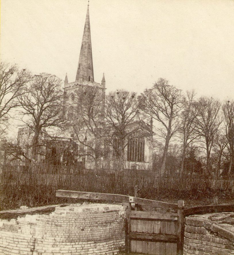 Holy Trinity Church seen from the lock, Stratford upon Avon.  1860s |  IMAGE LOCATION: (Warwickshire County Record Office)
