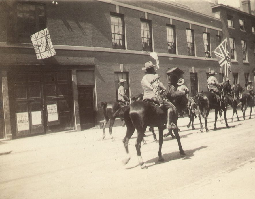 Peace celebrations after the Boer War, with a parade of Warwickshire Yeomanry Cavalry in Warwick.  June 2nd 1902 |  IMAGE LOCATION: (Warwickshire County Record Office)