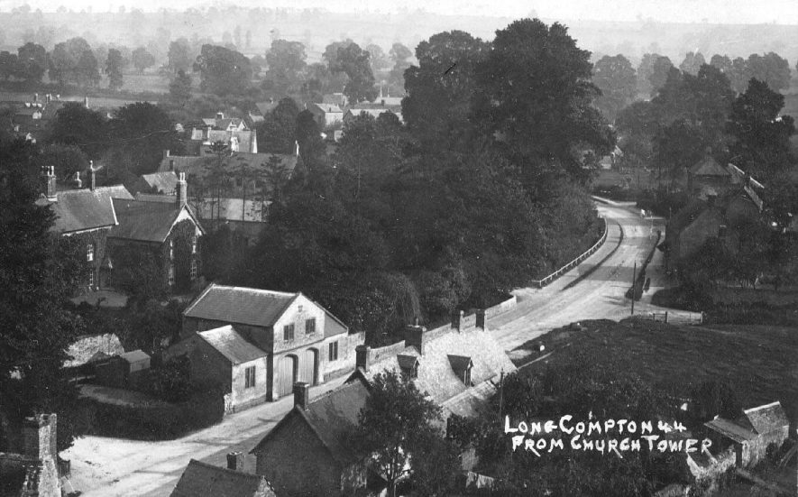 View of Long Compton village taken from the church tower.  1920s |  IMAGE LOCATION: (Warwickshire County Record Office)