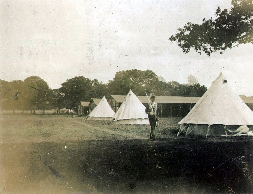 The Warwickshire Yeomanry camp in the castle park, Warwick.  1902 |  IMAGE LOCATION: (Warwickshire County Record Office)