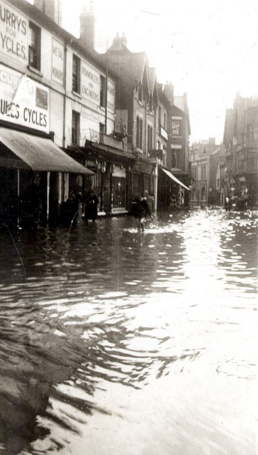 Shops in Abbey Street, Nuneaton, after the floods.  1932 |  IMAGE LOCATION: (Warwickshire County Record Office)
