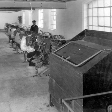 Bedworth.  Hat factory machinery and workers