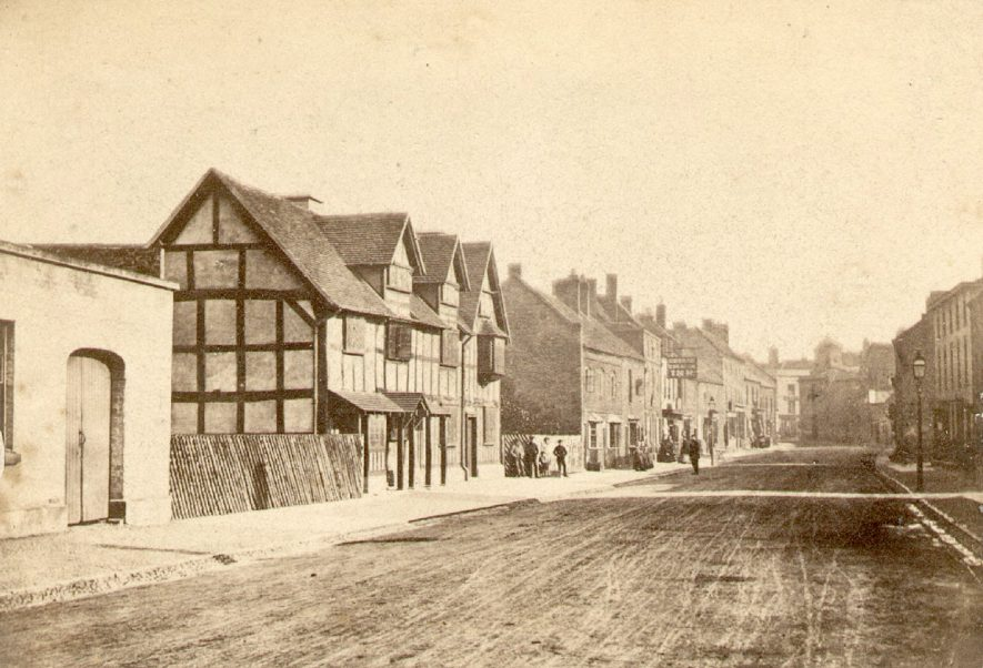 Henley Street, Stratford upon Avon, with Shakespeare's birthplace on the left.  1864 |  IMAGE LOCATION: (Warwickshire County Record Office)