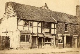 Shakespeare's birthplace, Henley Street, Stratford upon Avon, before restoration which took place between 1857 - 64. |  IMAGE LOCATION: (Warwickshire County Record Office)
