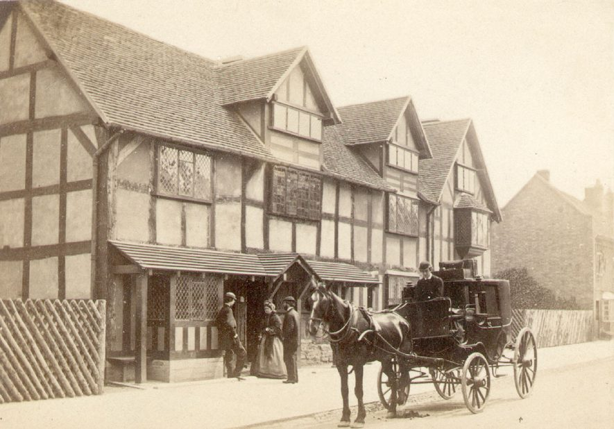 Horse and carriage standing in front of Shakespeare's birthplace, Henley Street, Stratford upon Avon.  1864. |  IMAGE LOCATION: (Warwickshire County Record Office)
