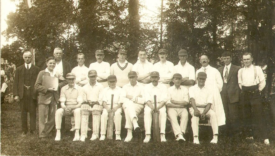 Barford cricket club. Back row, far right - W. Bacon (with spectacles), third from right - James Harrison, Fourth from right - Dick Hemmings. Front row, in the centre - Bob Hemmings, on his right - Bernard Winston, and second on the left - Ted Hemmings.  Circa 1926    IMAGE LOCATION: (Warwickshire County Record Office) PEOPLE IN PHOTO: Winston, Bernard, Winston as a surname, Hemmings, Walter, Hemmings, Ted, Hemmings, Dick, Hemmings as a surname, Harrison, James, Harrison as a surname, Bacon, William, Bacon as a surname